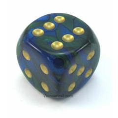 50mm d6 w/pips Blue-Green w/gold - DG5036