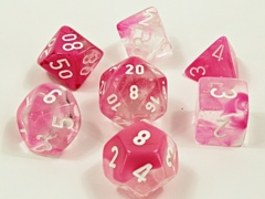 30042 Gemini® Polyhedral Clear-Pink/white Luminary 7-Die Set