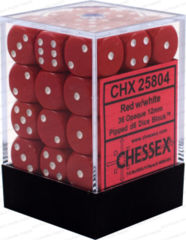Opaque 12mm d6 Red/white Dice Block™ (36 dice) 25804