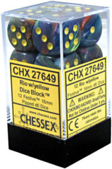 D6 Dice Festive 16mm Rio/Yellow (12 Dice in Display) - CHX27649