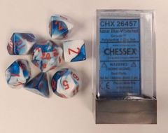 Astral Blue-White/red Gemini Polyhedral Dice Set - 26457