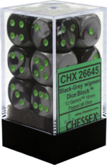Chessex 26645 Dice d6 Set: Black Gray with Green - 16mm Six Sided Die (12) Block of Dice