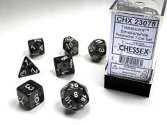 Polyhedral 7-Die Set Translucent Smoke/White