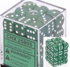 Opaque 12mm d6 Green/white Dice Block™ (36 dice) 25805