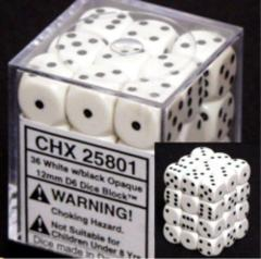Opaque 12mm d6 White/black Dice Block™ (36 dice) 25801
