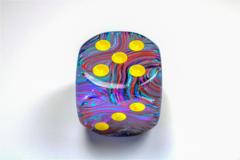 Festive® 50mm w/pips Mosaic/yellow d6 DF5050