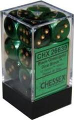 Chessex 26639 Dice d6 Set: Black Green with Gold - 16mm Six Sided Die (12) Block of Dice