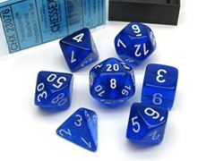 Translucent Polyhedral Blue/white 7-Die Set 23076