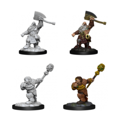 Magic the Gathering Unpainted Miniatures Dwarf Fighter & Dwarf Cleric