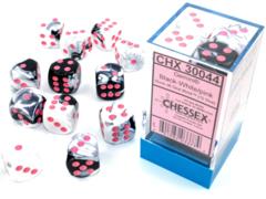 Gemini® 16mm d6 Black-White/pink Dice Block™ (12 dice).  30044