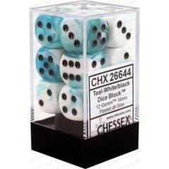 Chessex D6 Cube Gemini Set Of 12 Dice 16mm Teal White with Black Pips 26644