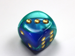 Gemini® 30mm w/pips Blue-Teal/gold d6 DG3059