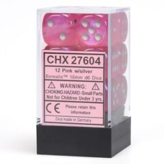 Chessex 27604 Dice d6 Set: Pink with Silver - 16mm Six Sided Die (12) Block of Dice