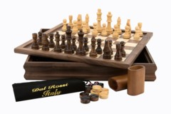 Chess /Checkers / Backgammon, walnut, flip top board, 35cm