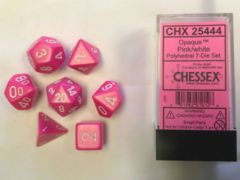 7 Dice Set Opaque Pink With White CHX 25444