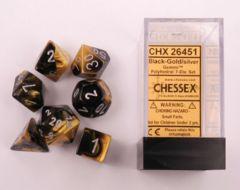 Black-Gold/Silver Gemini Polyhedral Dice Set -26451