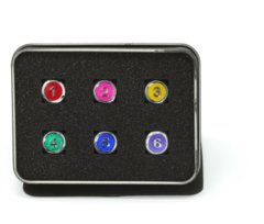 D6 Set - Gemstone Rainbow w/ Pink