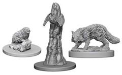 Pathfinder Battles Unpainted Minis - Familiars (Bat/Fox/Badger)