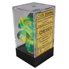Gemini Polyhedral 7 Dice Green Yellow w/ silver