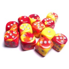 Gemini 16mm pipped d6 Dice Red Yellow w/ silver