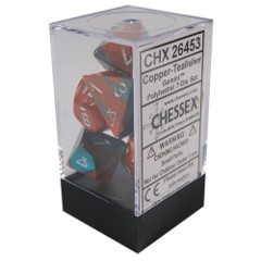 Gemini Polyhedral 7 Dice Copper Teal w/ silver
