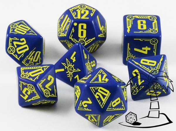 Galactic Dice Set - Navy & Yellow