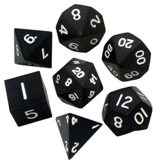 Polyhedral: Metal - Black w/White 7 Dice Set