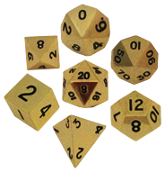Polyhedral: Metal - Gold 7 Dice Set