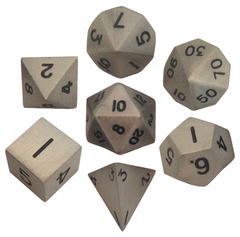 Polyhedral: Metal - Antique Silver 7 Dice Set