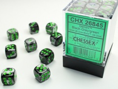 12mm D6 Dice Block: Gemini - Black-Grey w/Green - CHX 26845