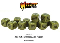 Bolt Action Order Dice: 12 Green D6 Set