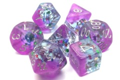 Old School RPG Dice Set: Infused - Mixed Stars W/Purple & Silver