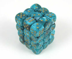 CHX 27839 Teal w/Gold (36 Vortex 12mm Pipped d6 Dice Block)