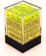 CHX 27822 Electric Yellow w/Green (36 Vortex 12mm Pipped d6 Dice Block)