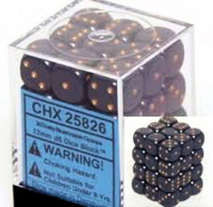 CHX 25826 Dusty Blue w/Gold (36 Opaque 12mm Pipped d6 Dice Block)