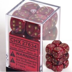 CHX 27634 Burgandy w/Gold Dice Block (12 Vortex 16mm Pipped d6 Dice)