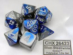 CHX 26423 Blue-Steel/white Gemini Polyhedral 7-Dice Set