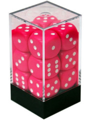 CHX 25644 Pink w/White Dice Block (12 Opaque 16mm Pipped d6 Dice)