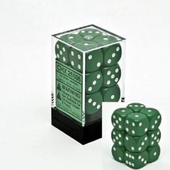 CHX 25605 Green w/White Dice Block (12 Opaque 16mm Pipped d6 Dice)