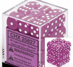 CHX 25827 Light Purple w/White (36 Opaque 12mm Pipped d6 Dice Block)