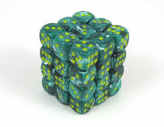 CHX 27855 Malachite Green w/Yellow (36 Vortex 12mm Pipped d6 Dice Block)