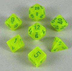 CHX 27422 Electric Yellow w/Green Vortex Polyhedral 7-Die Set