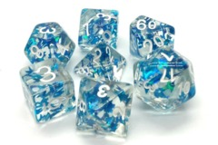 Old School RPG Dice Set: Infused - Blue Butterfly W/Silver
