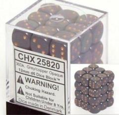 CHX 25820 Dark Grey w/Copper (36 Opaque 12mm Pipped d6 Dice Block)