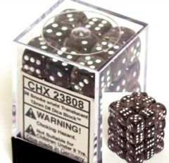CHX 25808 Black w/White (36 Opaque 12mm Pipped d6 Dice Block)