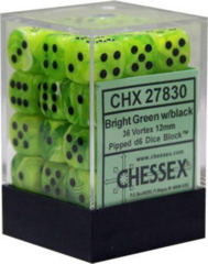 CHX 27830 Bright Green w/Black (36 Vortex 12mm Pipped d6 Dice Block)