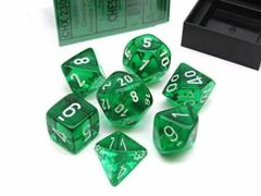 CHX 23075 Green w/White Translucent Polyhedral 7-Die Set