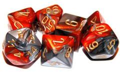 CHX 26461 Orange-Steel/gold Gemini Polyhedral 7-Die Set