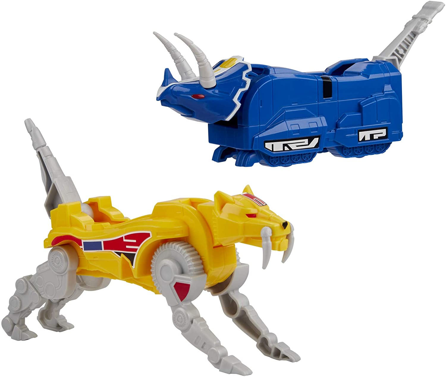 Power Rangers Mighty Morphin Triceratops Dinozord and Sabertooth Tiger Dinozord Toy 2-Pack