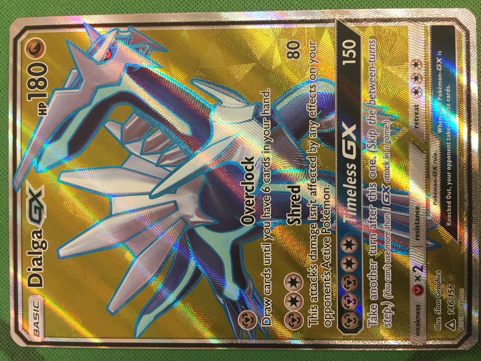 Full Art Ultra Rare NM Sun & Moon Ultra Prism 146/156 Dialga GX